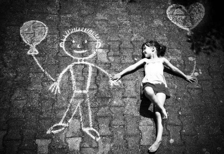 Childhood, imaginary friend, black and white, happy